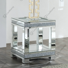 Living Room Crushed Diamond Mirrored Side Table End Table